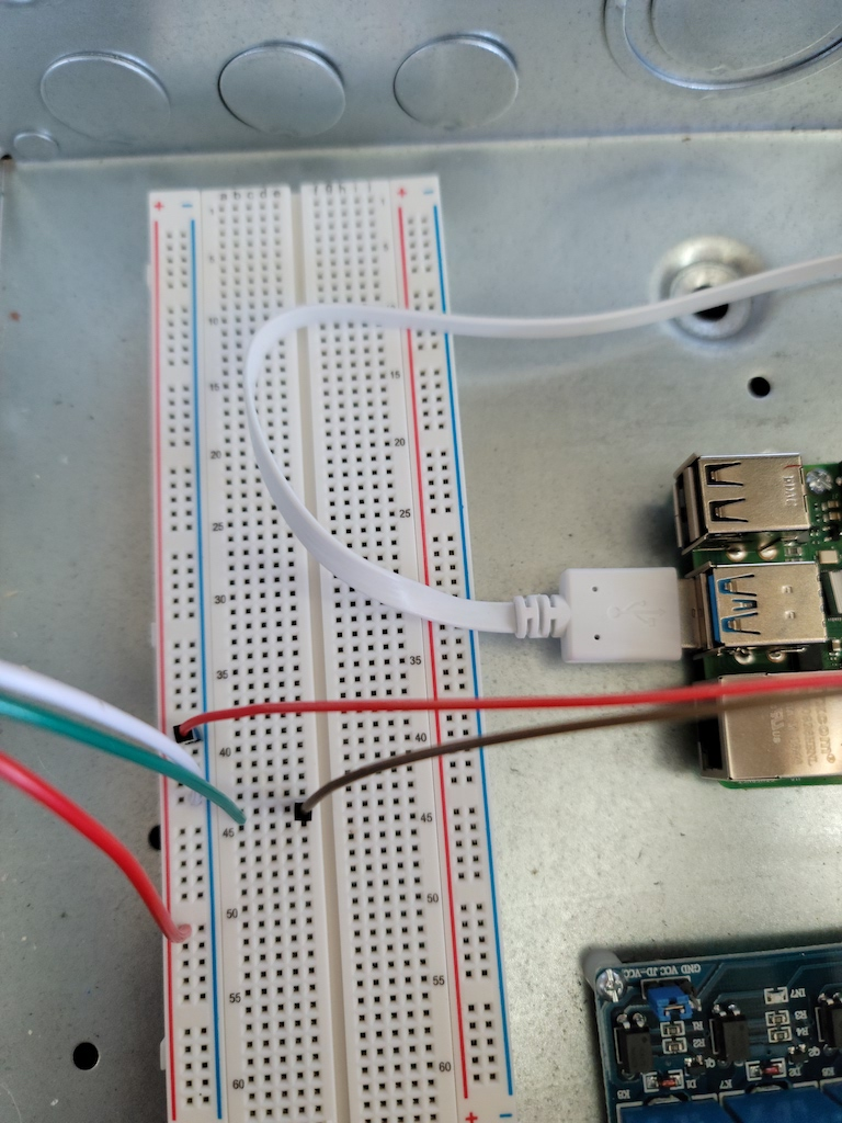 Connections into the breadboard